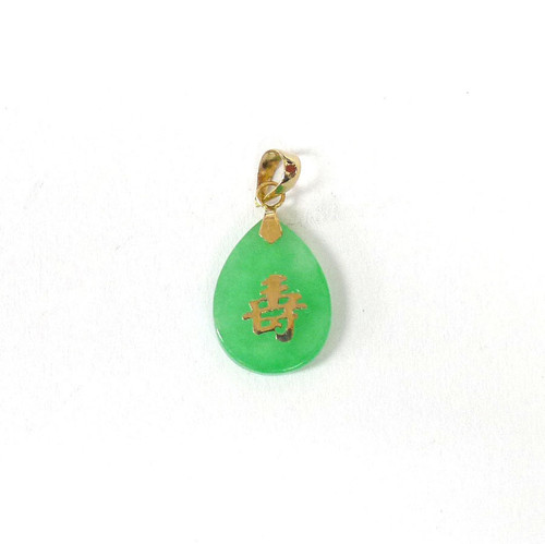 "14K Gold ""Good Fortune"" Teardrop Pendant"