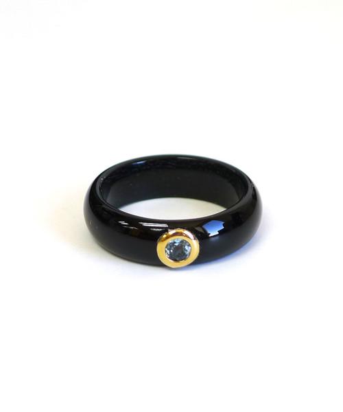 14K Gold Cubic Zirconia Jade Ring