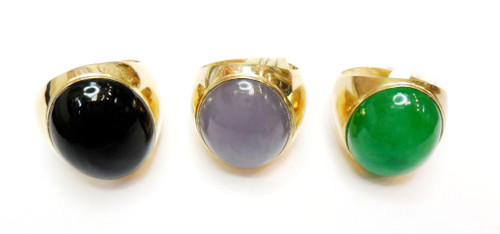 14K Gold Ring with Oval Shape Natural Stone