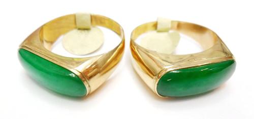 14K Gold Flat Jade Ring