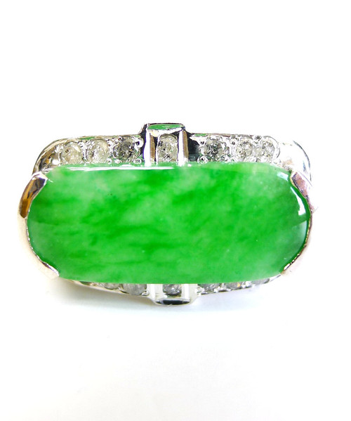 14K White Gold Rectangle Jade Diamond Ring