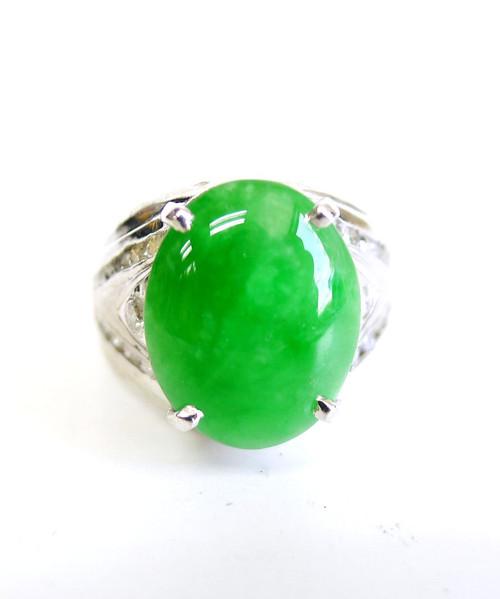 14K White Gold Oval Jade Diamond Ring