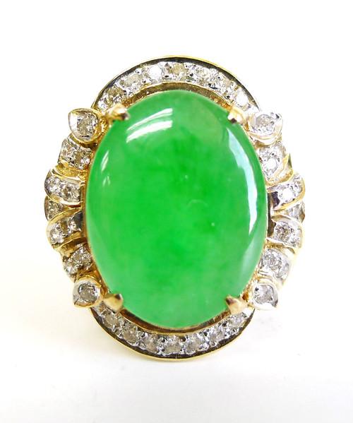 14K Gold Oval Jade Diamond Ring