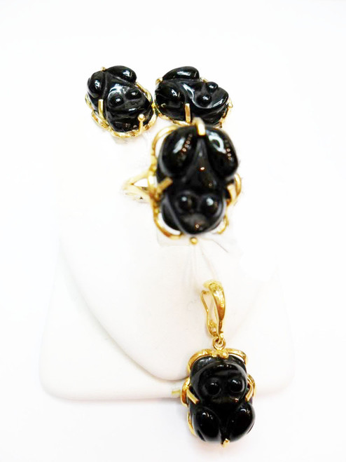 14K Gold Black Jade Frog Set