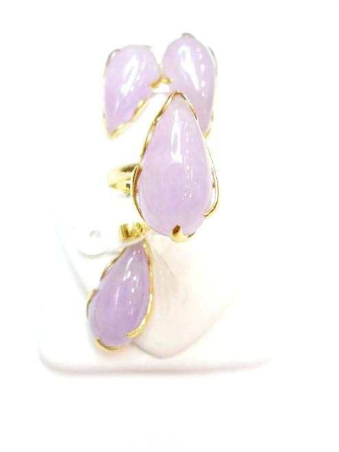 14K Gold Purple Jade Teardrop Set