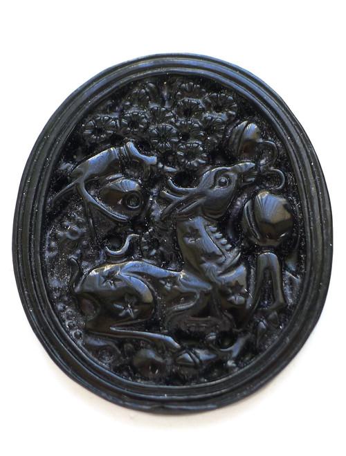 Black Jade Goat Pendant