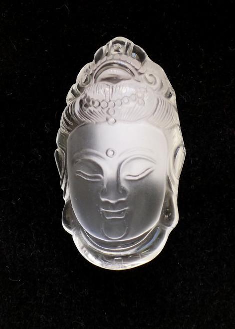 Rock Crystal Buddha Head Pendant