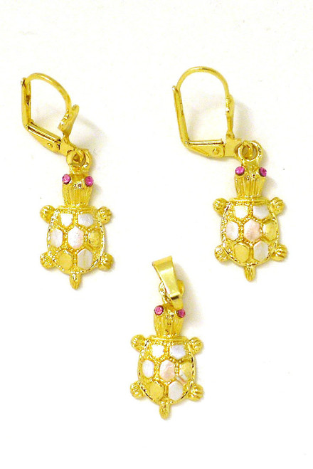 14k Gold Plated 3 Tone Small Turtle Earrings Pendant Set