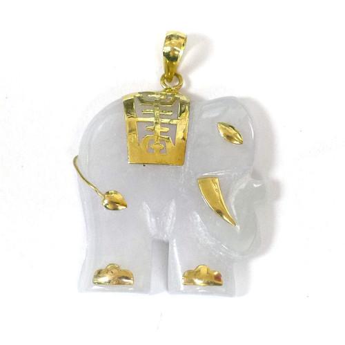 14K Gold White Jade Elephant Pendant
