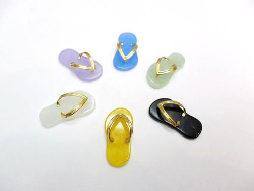 14k Solid Gold Bail Strap Jade Sandal Charm Pendant