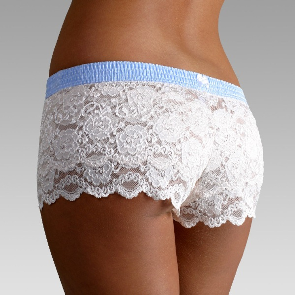Ivory Lace Boxers with Light Blue Dot FOXERS Band FXBXR-1121-USA