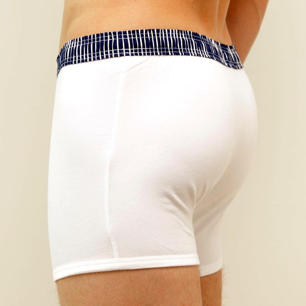 vy Blue Stripe over White Short Boxer Brief