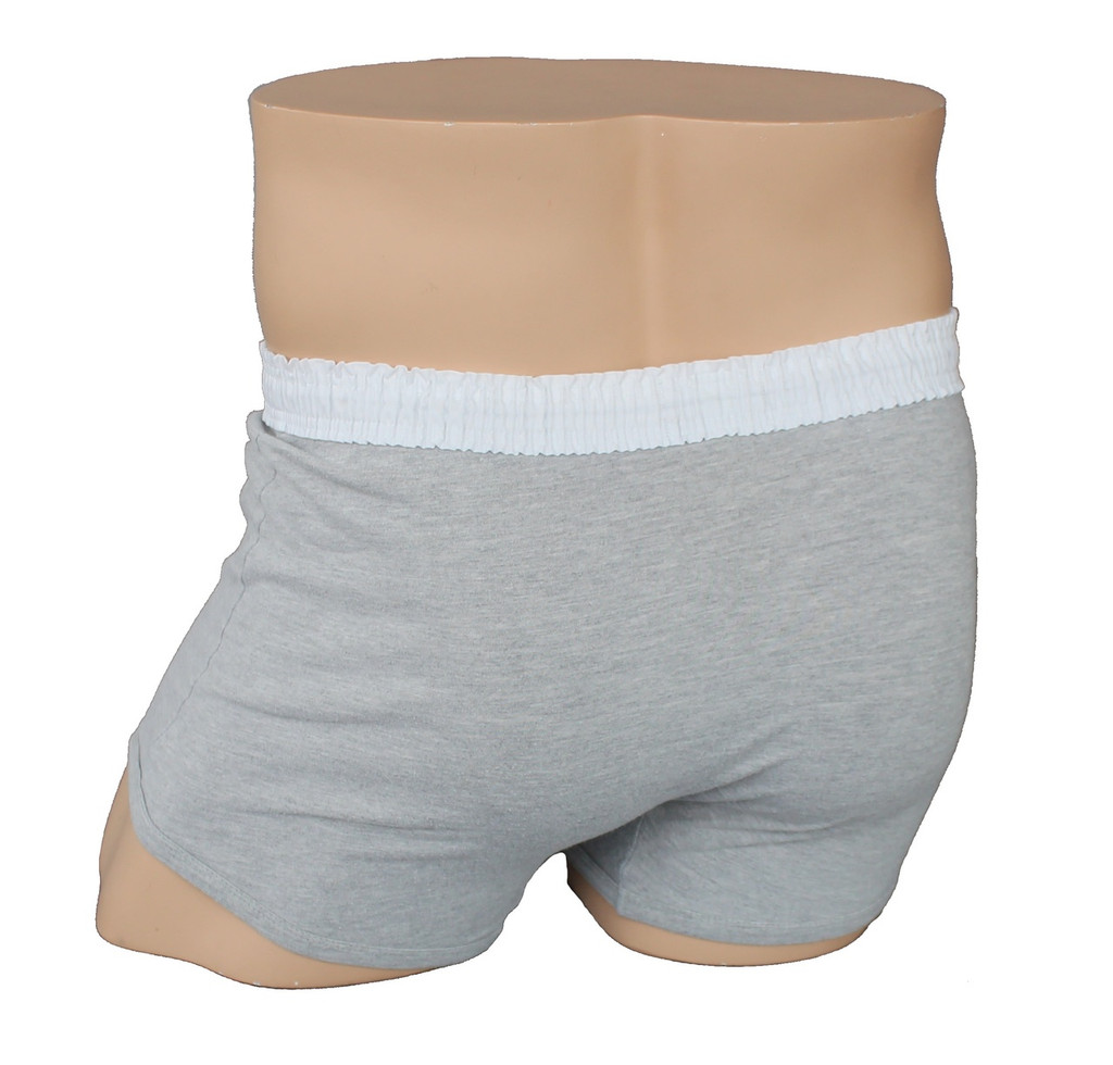 Men's White over Grey Short Boxer Brief