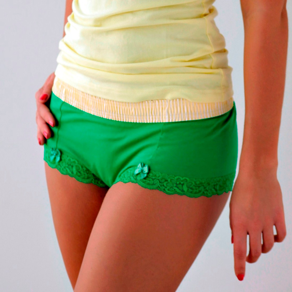 Yellow Stripe over Kelly Green Boyshort