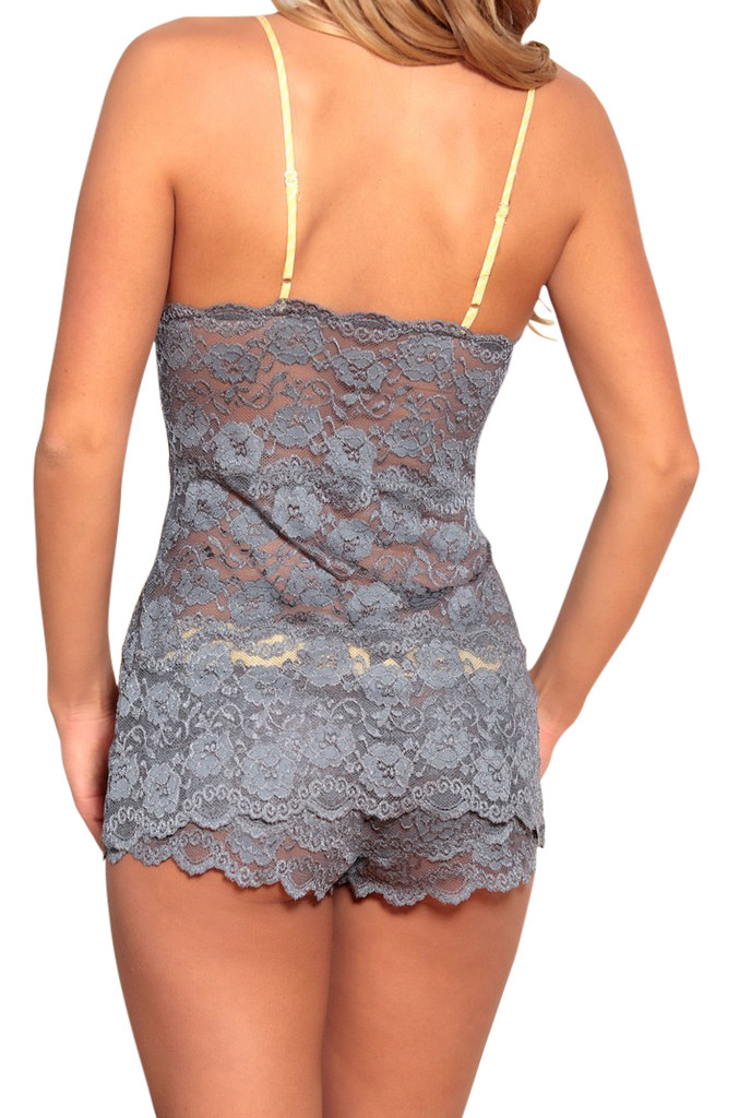 Charcoal Gray Lace Hip Length Camisole (Yellow Straps)