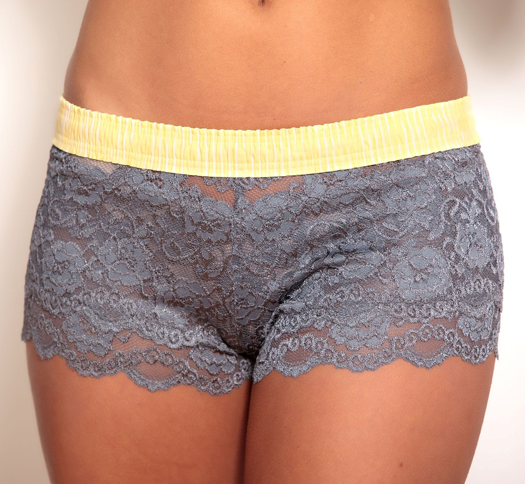 Charcoal Grey Lace Boxer with Yellow Waistband