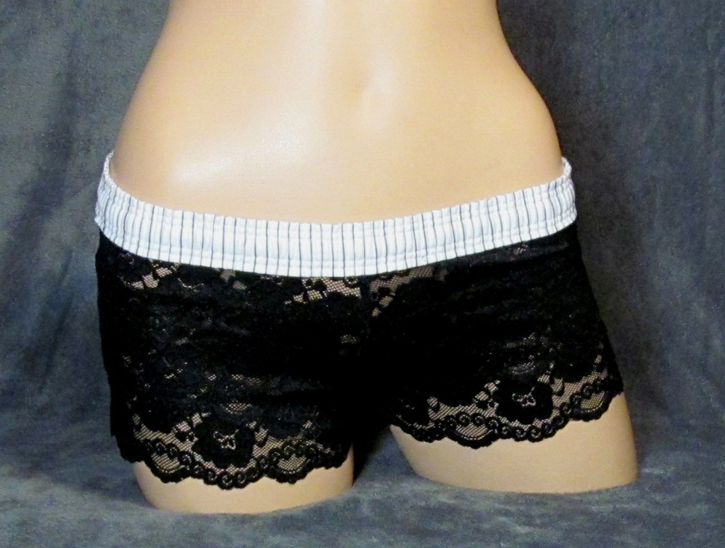 Black Lace Boxer with White Striped Waistband