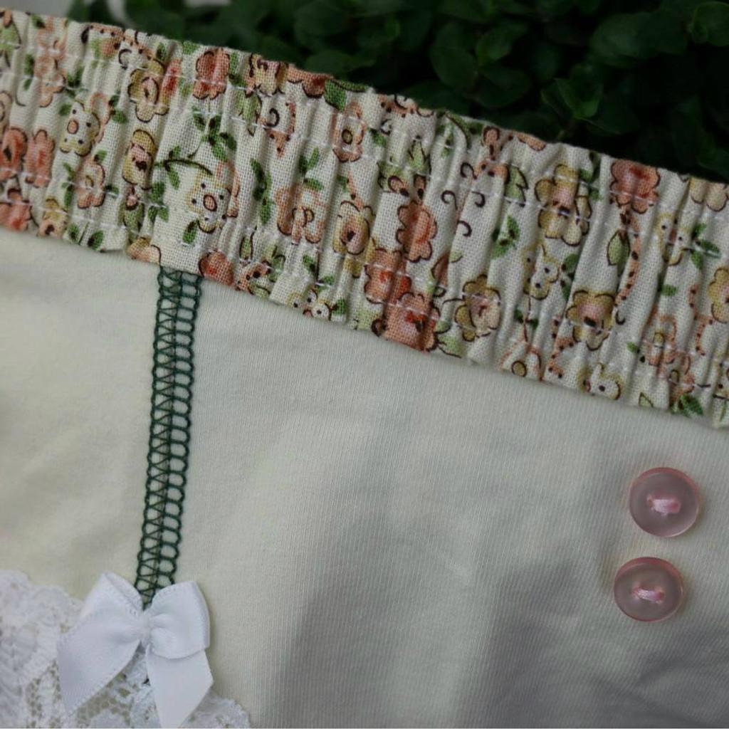 Ivory Boyshort with Floral waistband