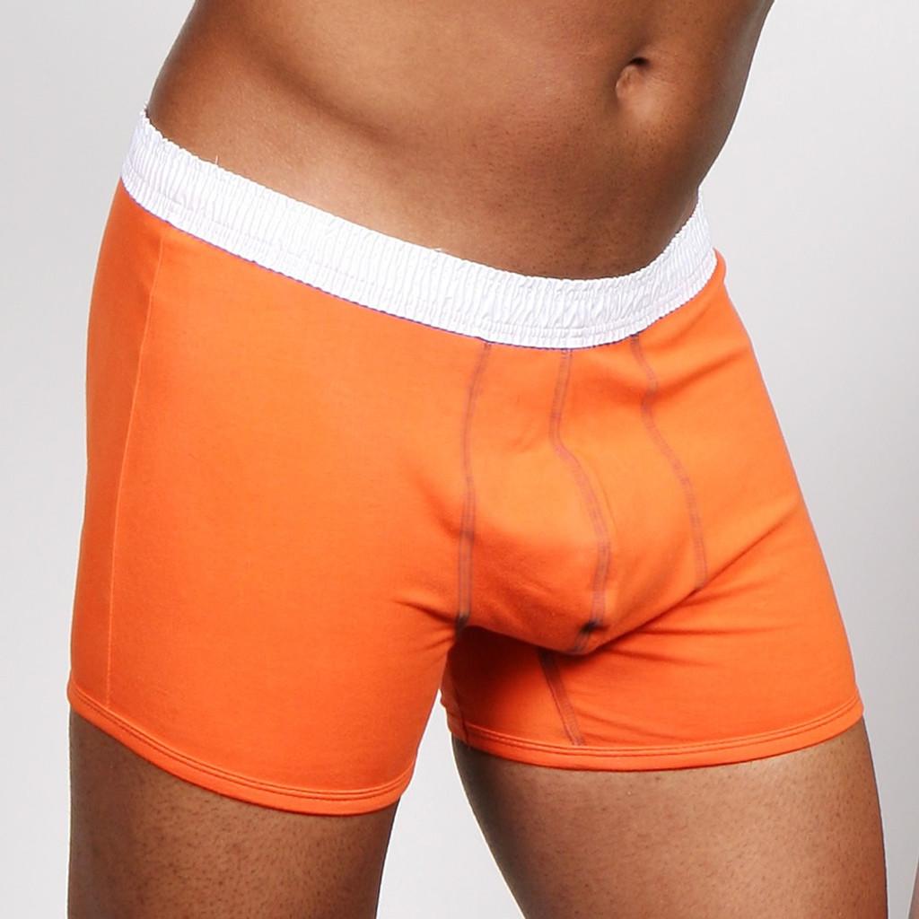 Men's White over Orange Short Boxer Brief