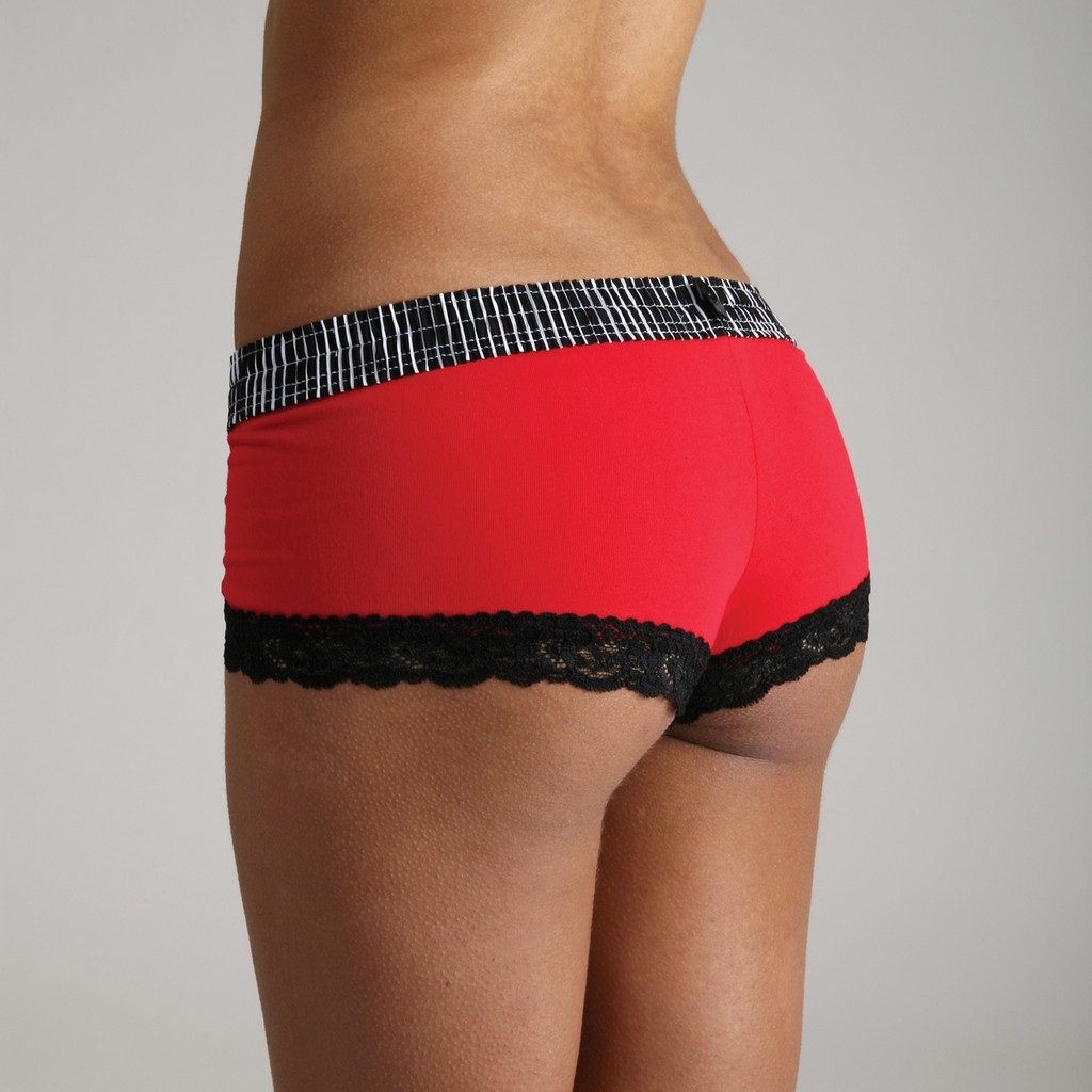 Black Stripe over Red Boyshort