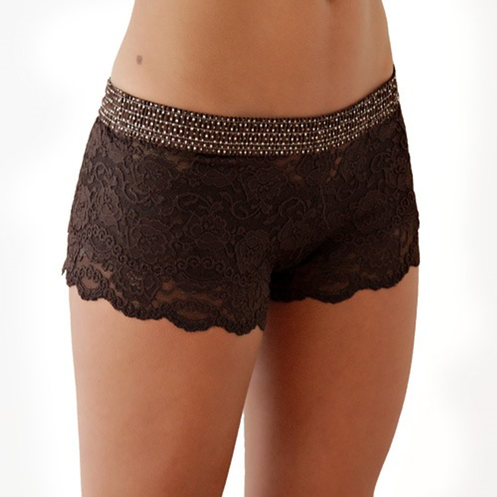 Brown Dot over Brown Lace Boxers (Blue bow)
