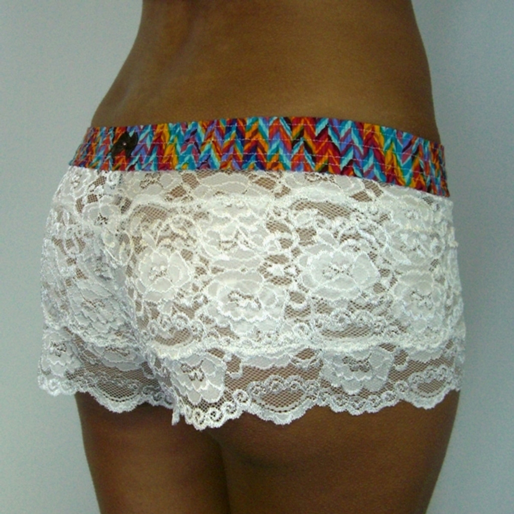 Southwest over Ivory Lace Boxers