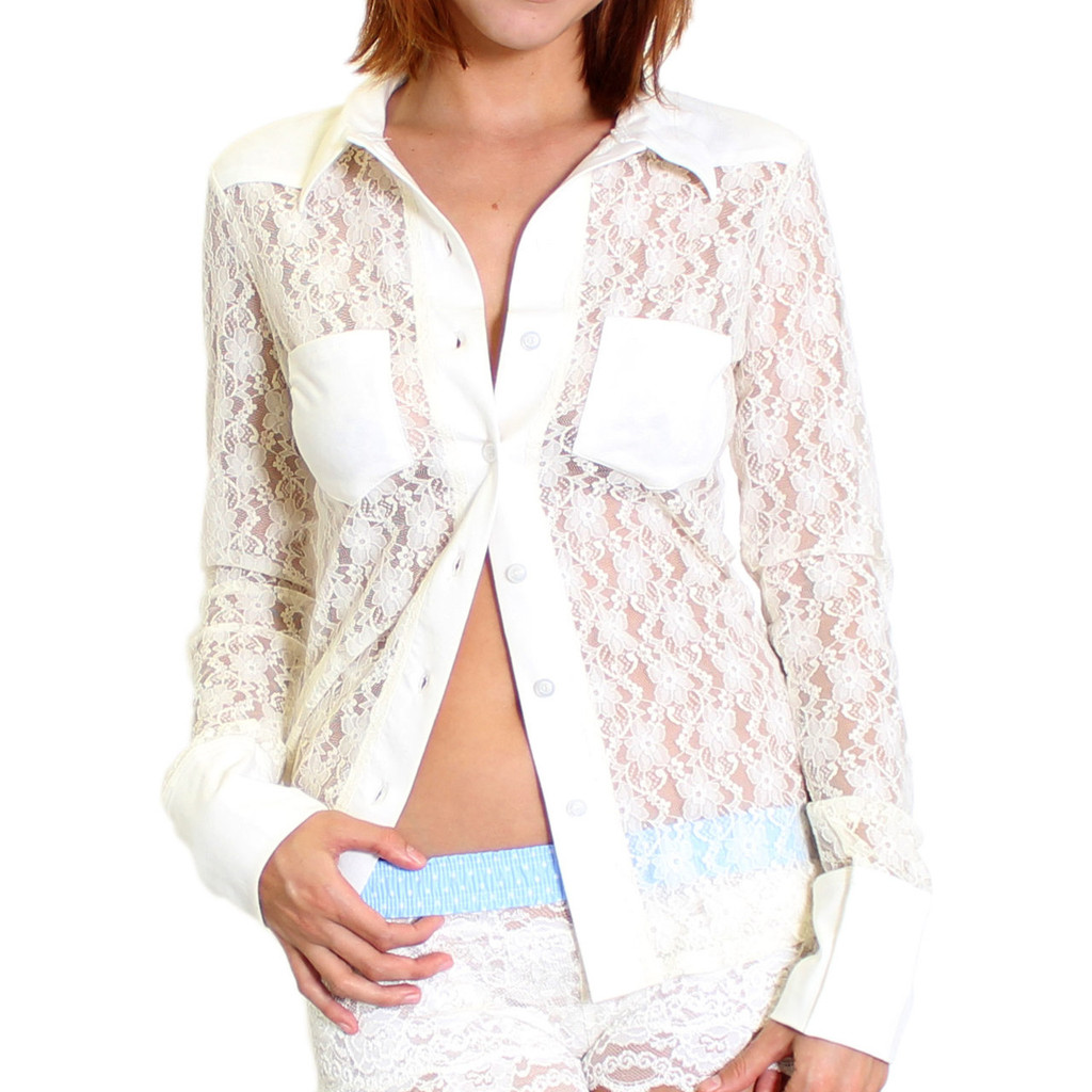 See Through Ivory Lace Button Down Shirt