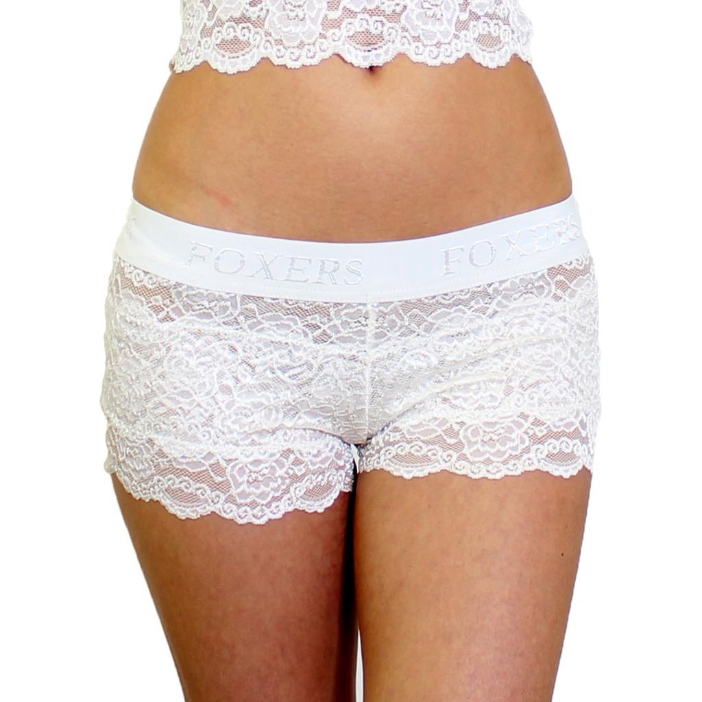 Ivory Lace Bridal Panties   Lace Boyshorts
