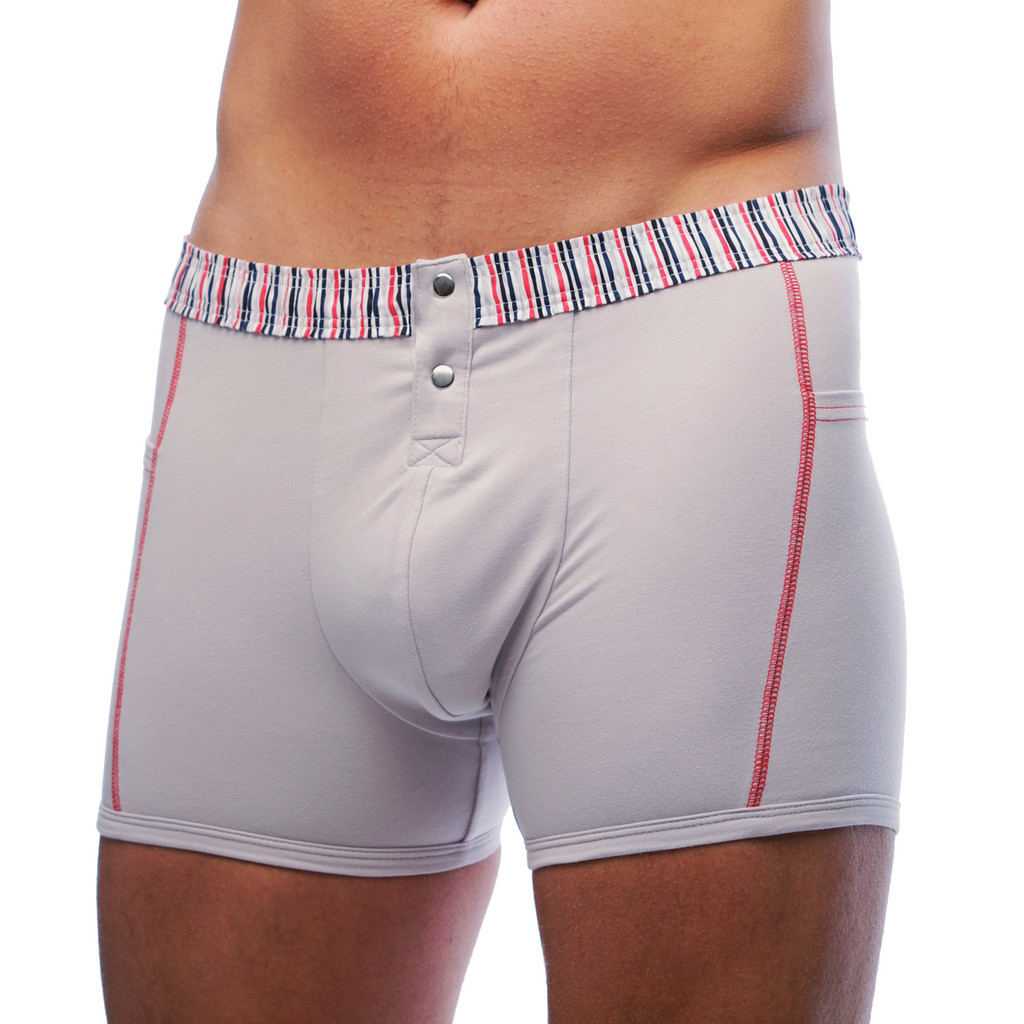 Silver Men's Boxer Brief with Striped Waistband