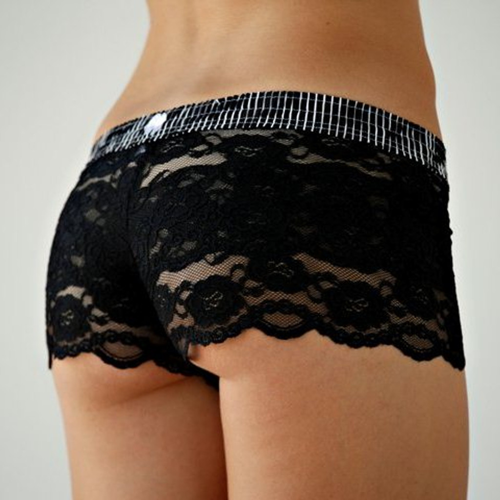 Black Stripes over Black Lace Boxers
