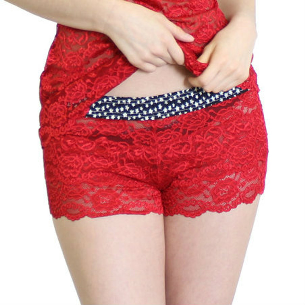 Red Lace Boxers with Stars