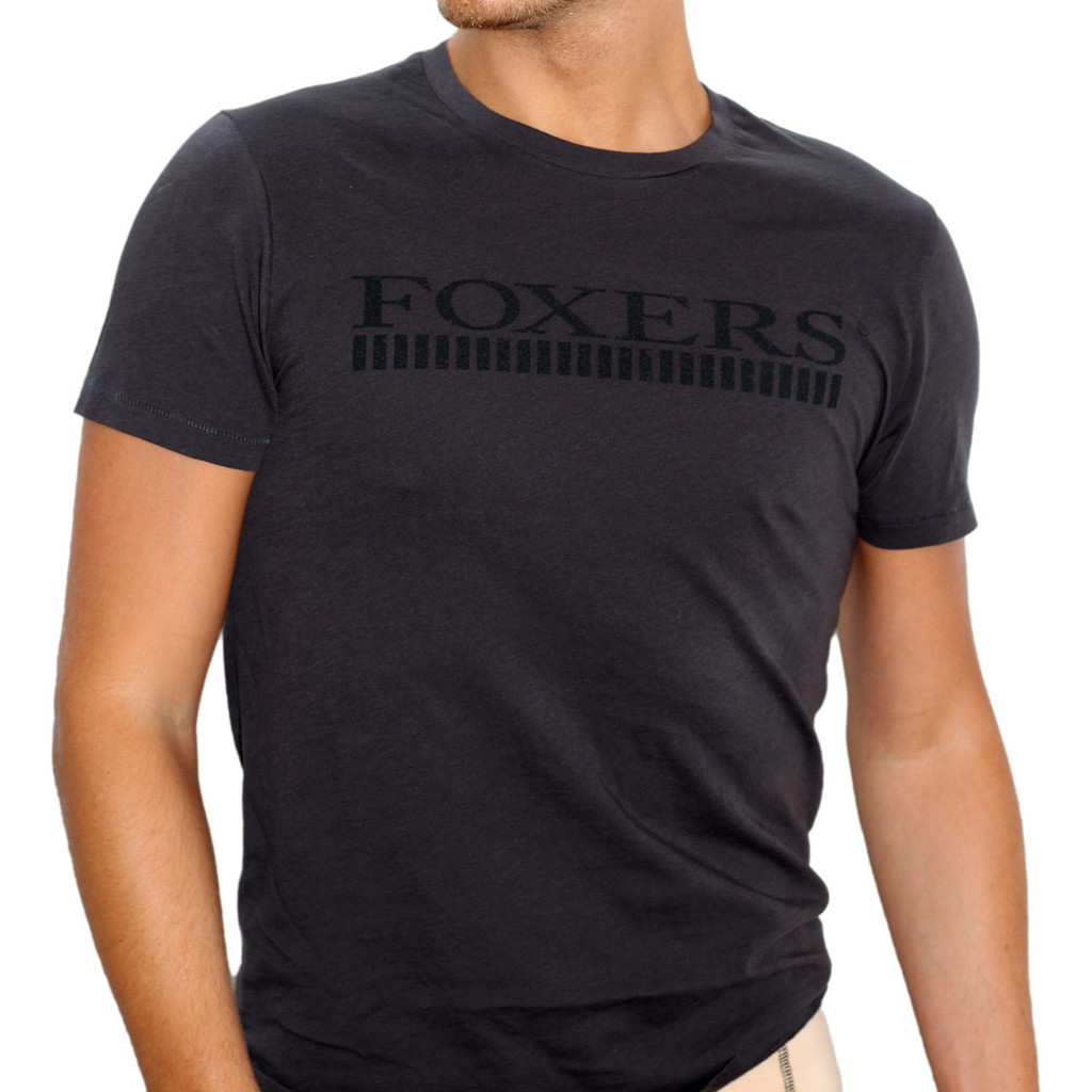 FOXERS Men's Soft Black Tee shirt with Black Logo