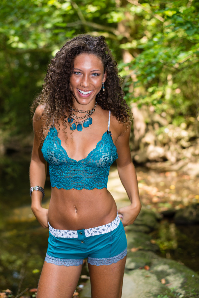 Jordan in the teal boxer brief and matching lace camisole