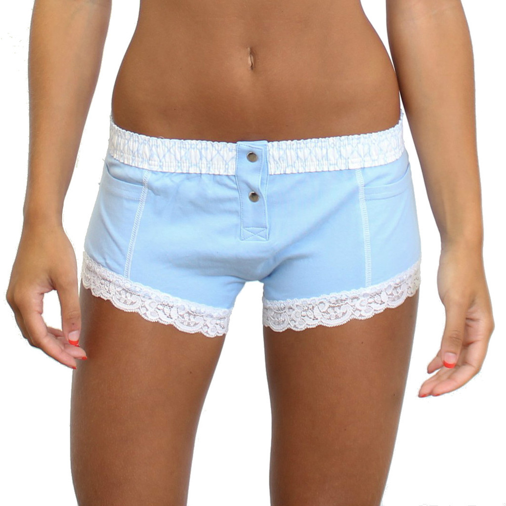 Light Blue Boxer Brief for women with trellis waistband