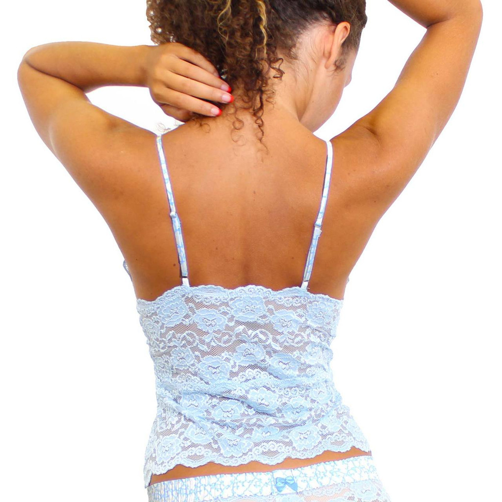 Light Blue Lace Camisole with Trellis Straps