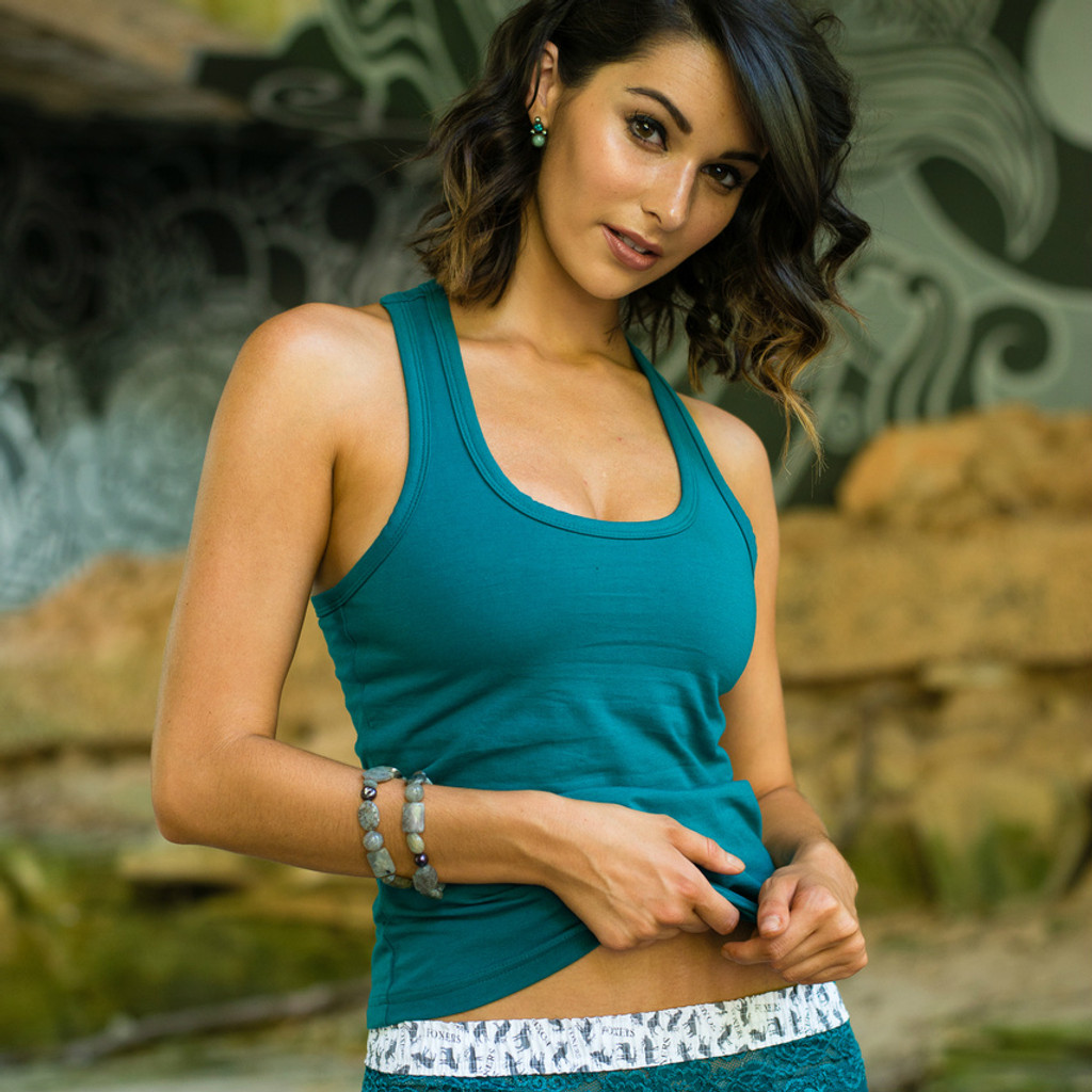 Women's Teal Racerback Tank top with Shelf Bra