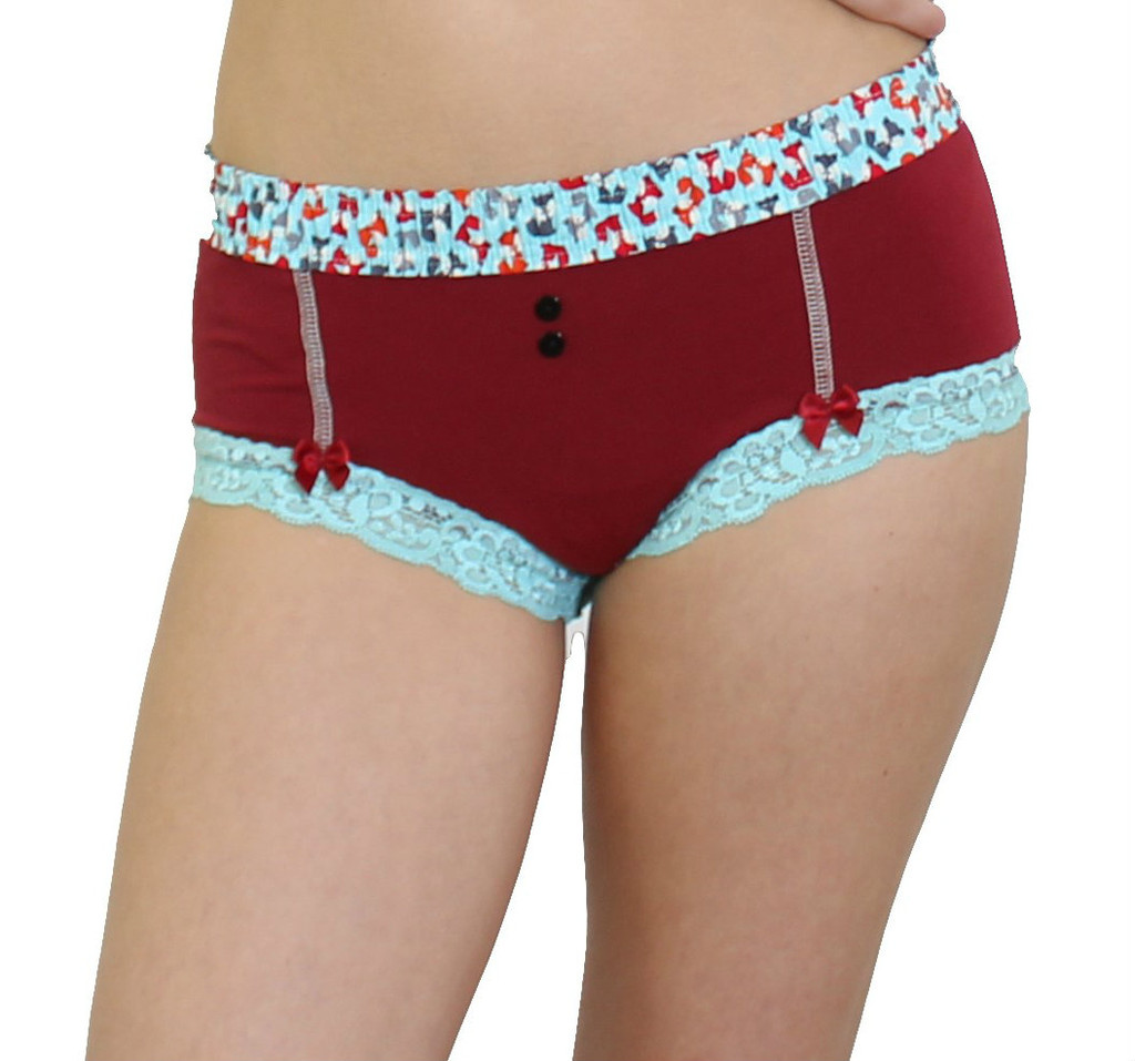 Dark Red Boy Short panties with little foxes