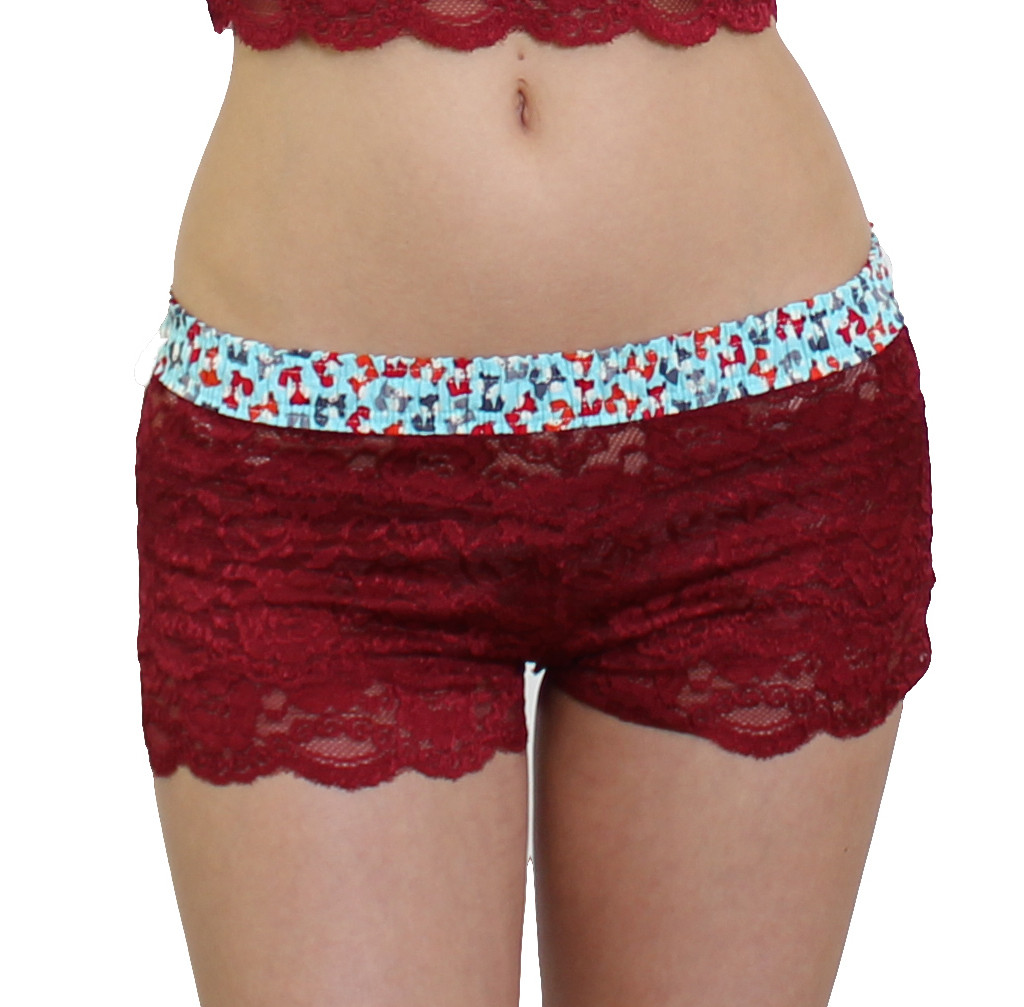 Cranberry lace boyshort underwear with foxes