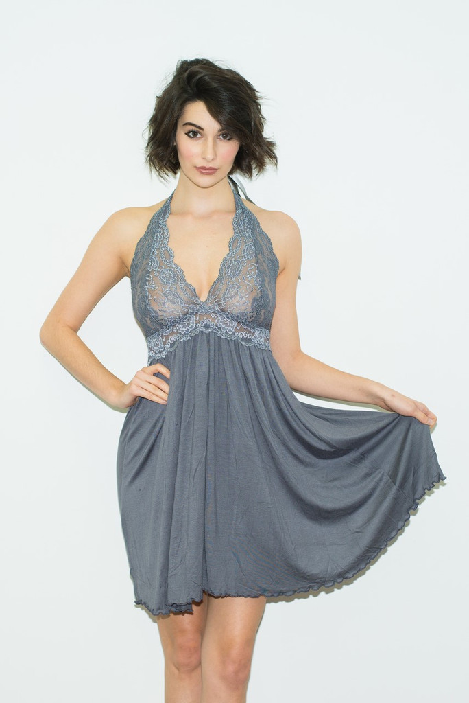 FOXERS Gray Baby Doll Chemise