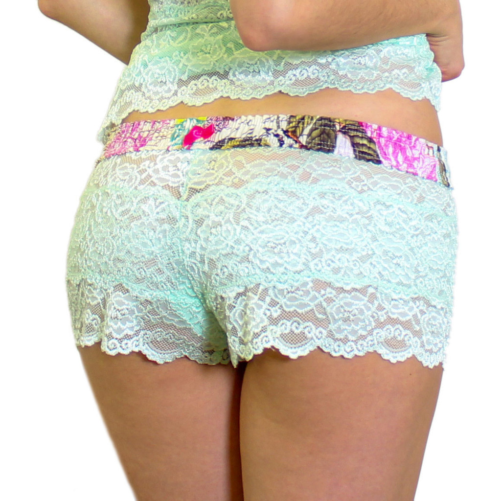 Mint Lace Boxers with French Memoir FOXERS Band