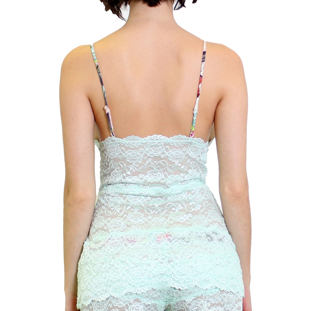 Pastel Mint Lace Camisole with Colorful Straps