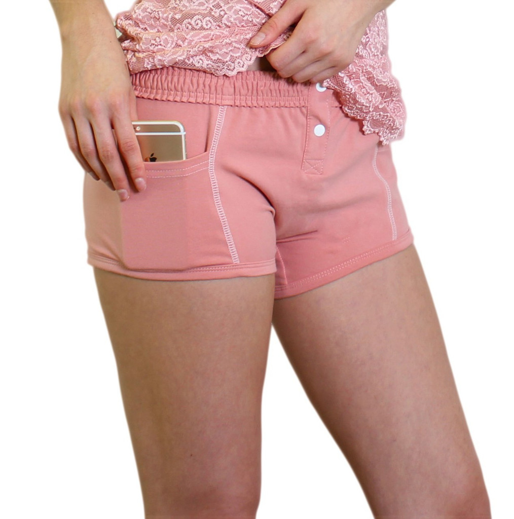French Rose Tomboy Boxers with side pockets