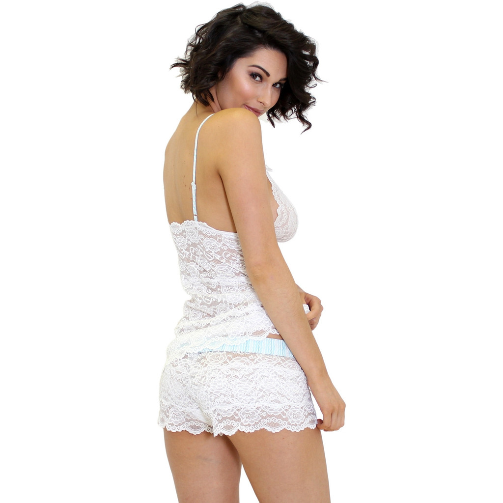 FOXERS White Lace Boxer Briefs and Lace Camisole