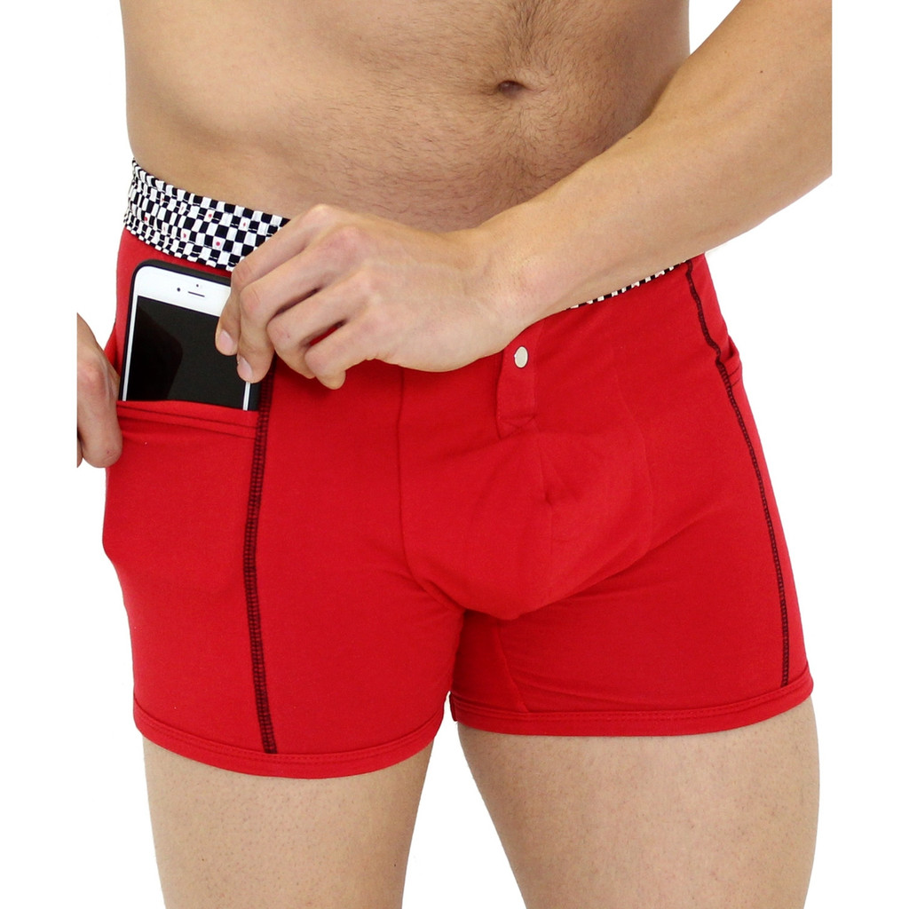 Men's Red Boxer Brief with Pockets