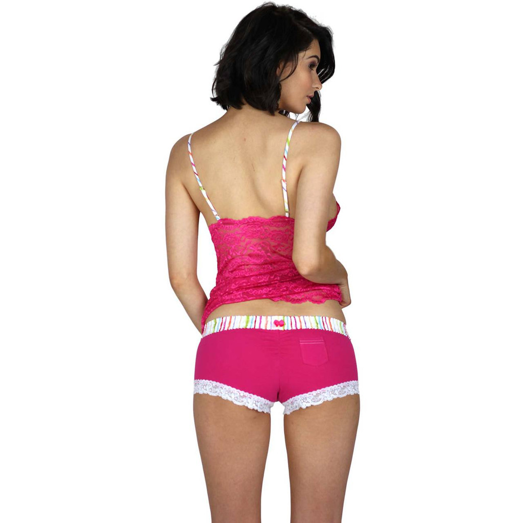 Pink Boyshort Boxers with White Lace Trim