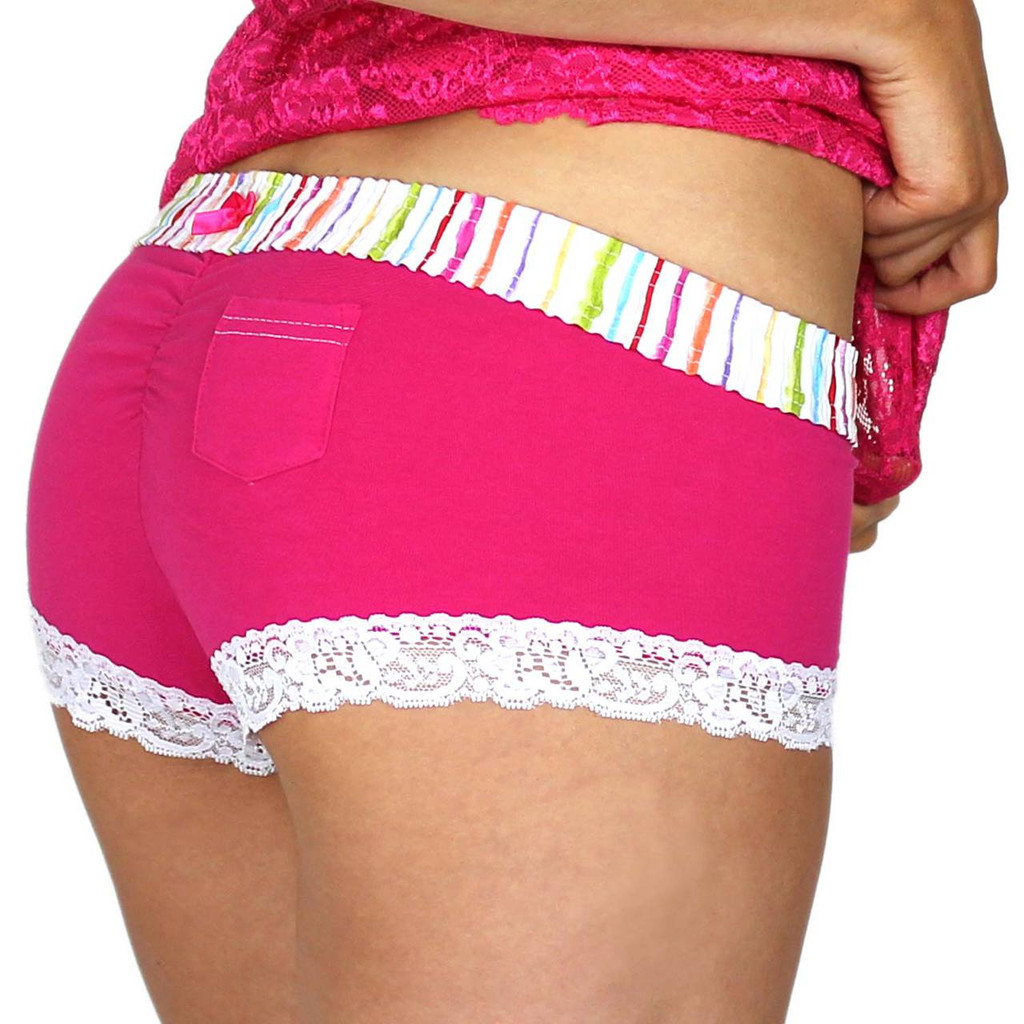 Water Colors Pink Boyshort Underwear with Lipstick Pocket in back