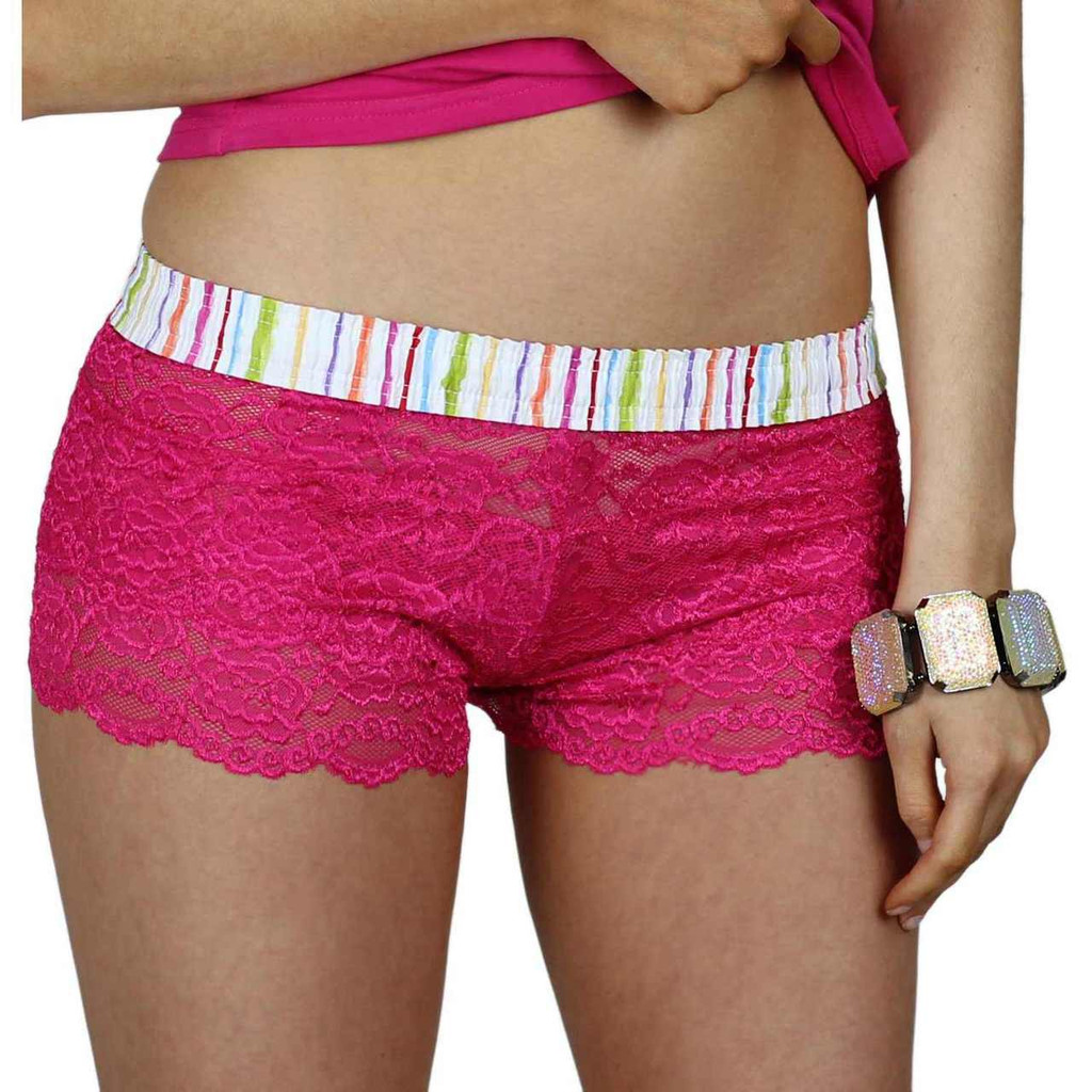 Pink Lace Boxer Panties with Striped Band