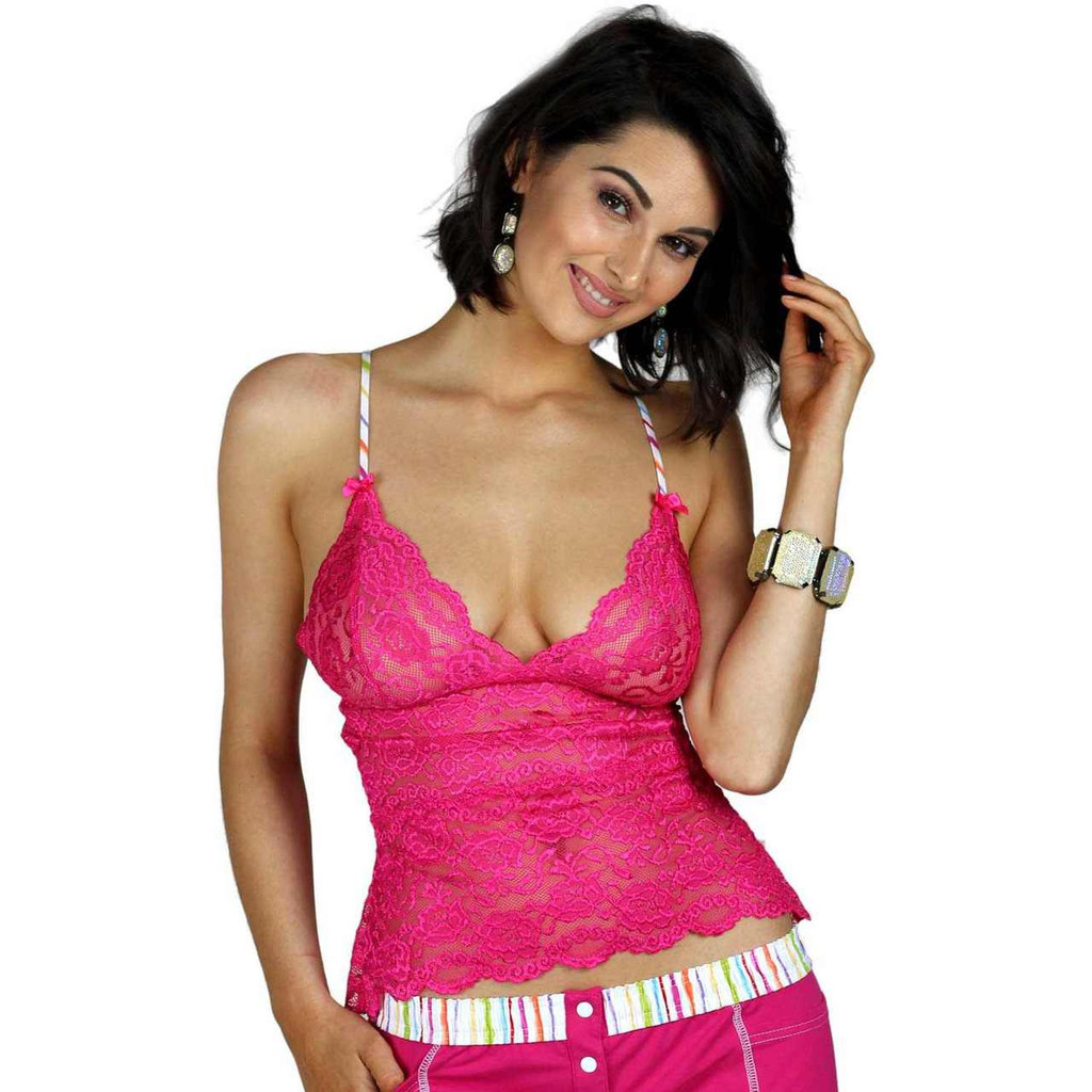 Waist Length Pink Lace Chemise