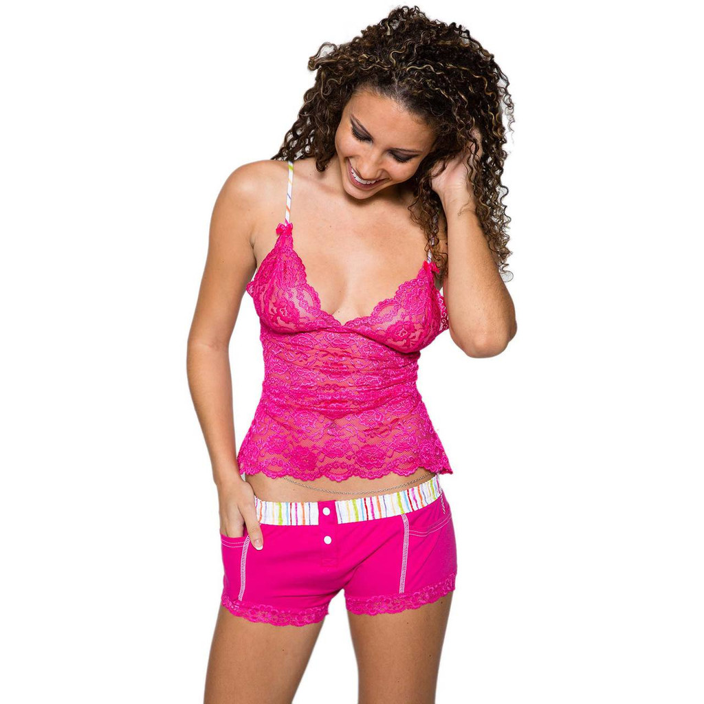 Fuchsia Lace Waist Length Camisole | FOXERS Watercolors