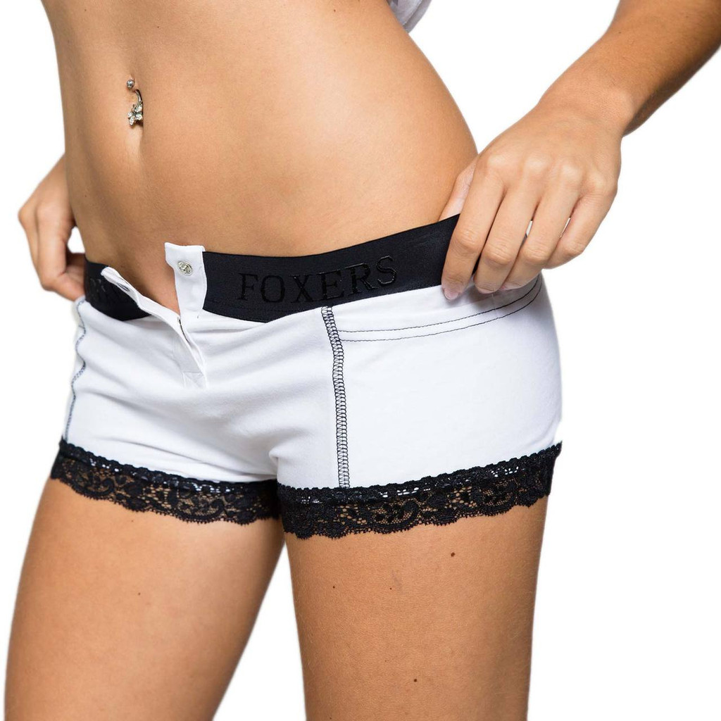 White Tuxedo Boy Short Boxers with Black Lace around the legs